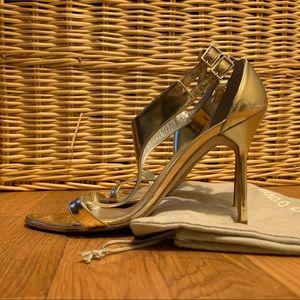 Manolo Blahnik gold heels strappy open toe sandal